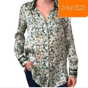 NWT Zara Basic Women's Sm Green Floral blouse